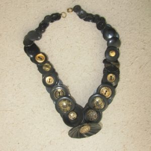 Black and Gold Vintage Button Necklace