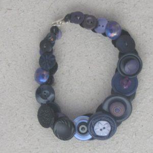 Black and Purple Vintage Button Necklace