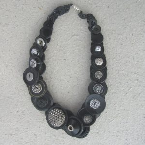 Black and Silver Vintage Button Necklace
