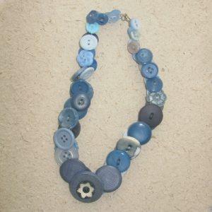Pale Blue Vintage Button Necklace