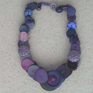Grey/Mauve Vintage Button Necklace