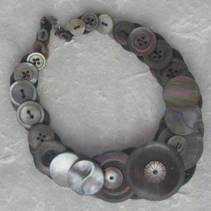 Grey/Dark Pearl –  Vintage Button Necklace