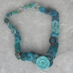 Turquoise Vintage Button Necklace