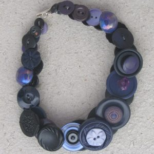 Blue and Black Vintage Button Necklace