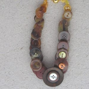 Brown Vintage Button Necklace