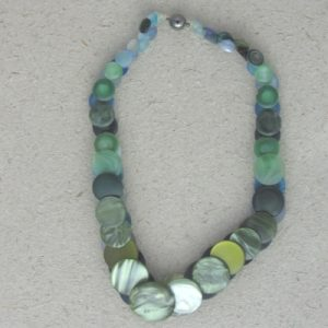 Green and Blue Vintage Button Necklace
