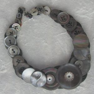 Grey/Dark Pearl –  Vintage Button Necklace