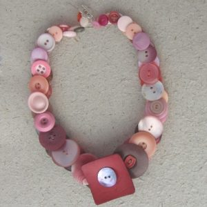 Pink/Red Vintage Button Necklace