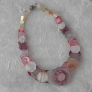 Pink Vintage Button Necklace
