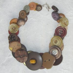 Yellow/Brown Vintage Button Necklace